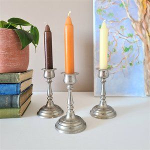 Set of 3 Pewter Candle Holders Sticks